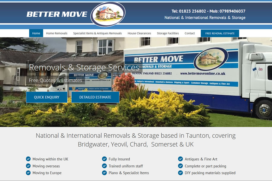 Removal Company Website Designers in Taunton, Somerset