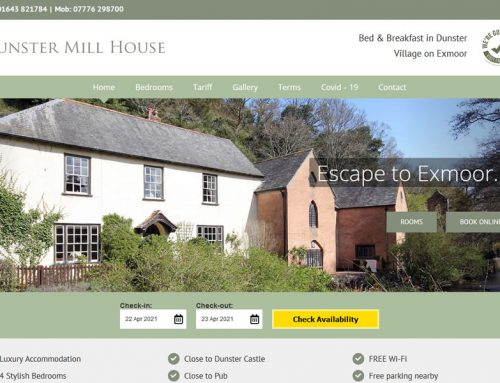 New Website for Dunster Mill House Bed and Breakfast