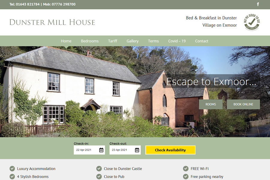 Dunster Mill House - Bed and Breakfast Website Designers